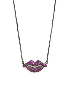 Made In USA CZ Micropave Lip Adjustable Necklace