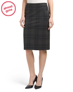 Brushed Ponte Plaid Skirt