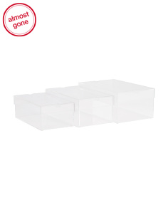 Set Of 3 Clear Shoe Storage Boxes