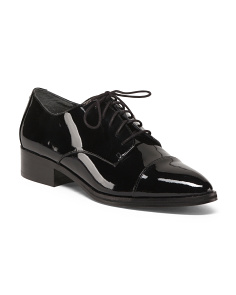 Narrow Tie Up Leather Oxfords
