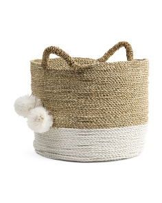 Large Seagrass Color Block Basket