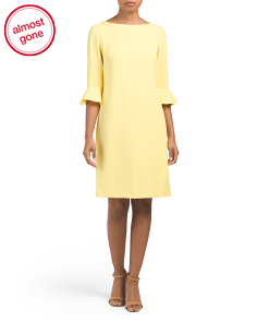 Ruffle Sleeve Scuba Crepe Dress