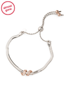 Made In Italy Sterling Silver CZ Twist Friendship Bracelets
