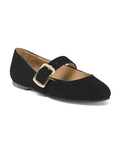 Suede Ballet Flats With Buckle