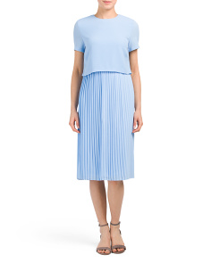Crepe Pleated Skirt Dress