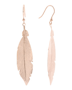 Made In Italy Rose Gold Plated Sterling Silver Feather Earrings