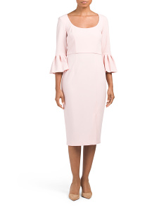 Bell Sleeve Crepe Dress