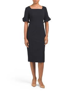 Square Neck Crepe Dress