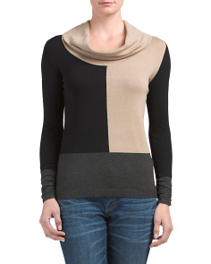 Cowl Neck Color Block Sweater