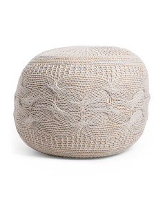 Made In India Chunky Cable Knit Pouf
