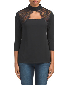 Three-quarter Sleeve Choker Top
