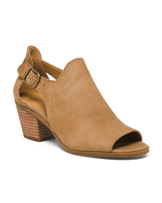 Peep Toe Open Sided Leather Shoes