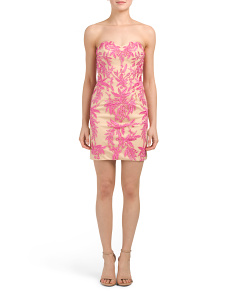 Petite Floral Embroidered Cocktail Dress