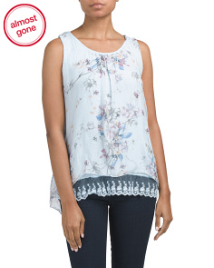 Made In Italy Silk Floral Print Top