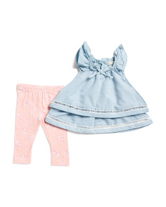 Infant & Toddler Girls Double Layer Top & Legging Set