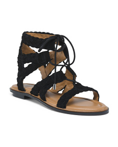 Suede Flat Lace Up Sandals