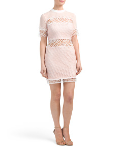Eyelet Lace Mini Dress With Crochet