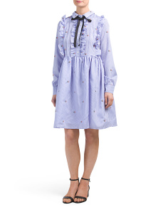 Ruffle Embroidery Collared Tie Neck Dress