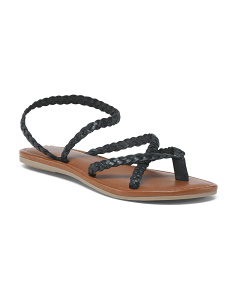 Braided Thong Toe Leather Sandals