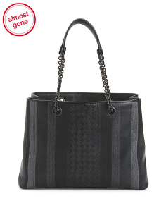 Made In Italy Embroidered Leather Tote