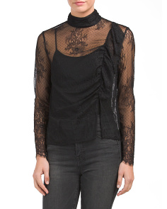 Juniors Long Sleeve Lace Woven Top