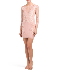 Juniors Long Sleeve Mesh Lace Dress