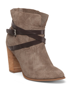 Stacked Heel Western Suede Booties