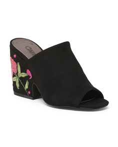 Embroidered Block Heel Mules