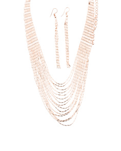 Multirow Chain Necklace And Matching Linear Earrings Set