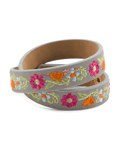 Embroidered Floral Wrap Bracelet