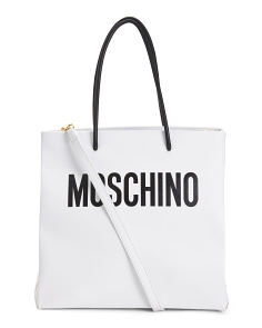 Made In Italy Logo Leather Tote