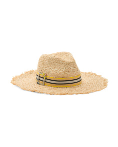 Jewel Embellished Raffia Floppy Hat