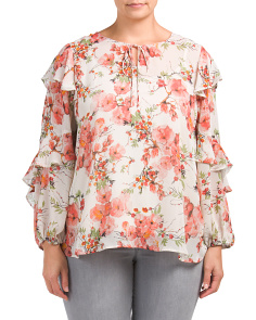 Plus Sheer Floral Printed Blouse