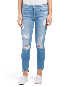 Destructed Step Hem Ankle Skinny Jeans