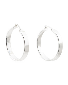 Sterling Silver Rectangular Edge Tube Hoop Earrings
