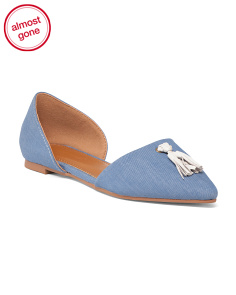 Pointy Toe Denim Flats