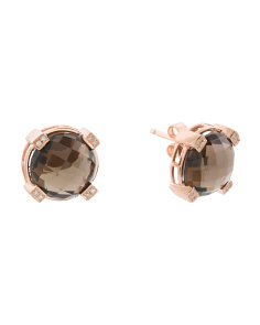 Rose Gold Plated Sterling Silver Smoky Quartz Diamond Earrings