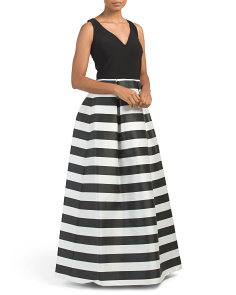 Sleeveless Striped Skirt Gown