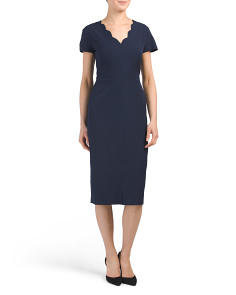 Crepe Scallop V-neck Sheath Dress