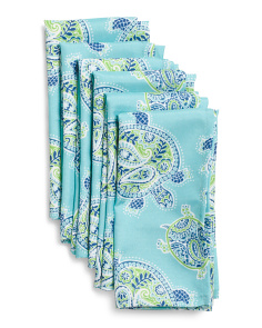 Set Of 6 Tranquil Turtles Indoor Outdoor Napkins