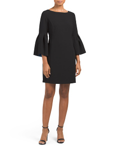 Crepe Shift Dress With Bell Sleeves