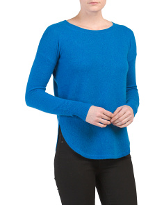 Cashmere Curved Crewneck Sweater