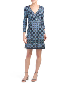Diamond Print Faux Wrap Jersey Dress