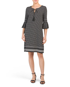 Dot Print Lace Up Jersey Dress