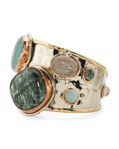 Tri Color Genuine Stone Cuff Bracelet
