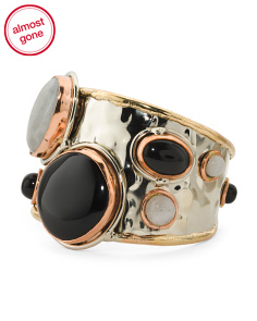 Tri Color Moonstone And Onyx Cuff Bracelet