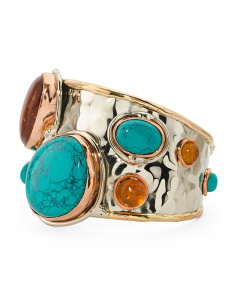 Tri Color Turquoise And Amber Cuff Bracelet