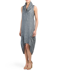 Cowl Neck Linen Midi Dress