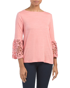Bell Sleeve Top With Scallop Cuff