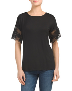 T-shirt With Eyelet Trim